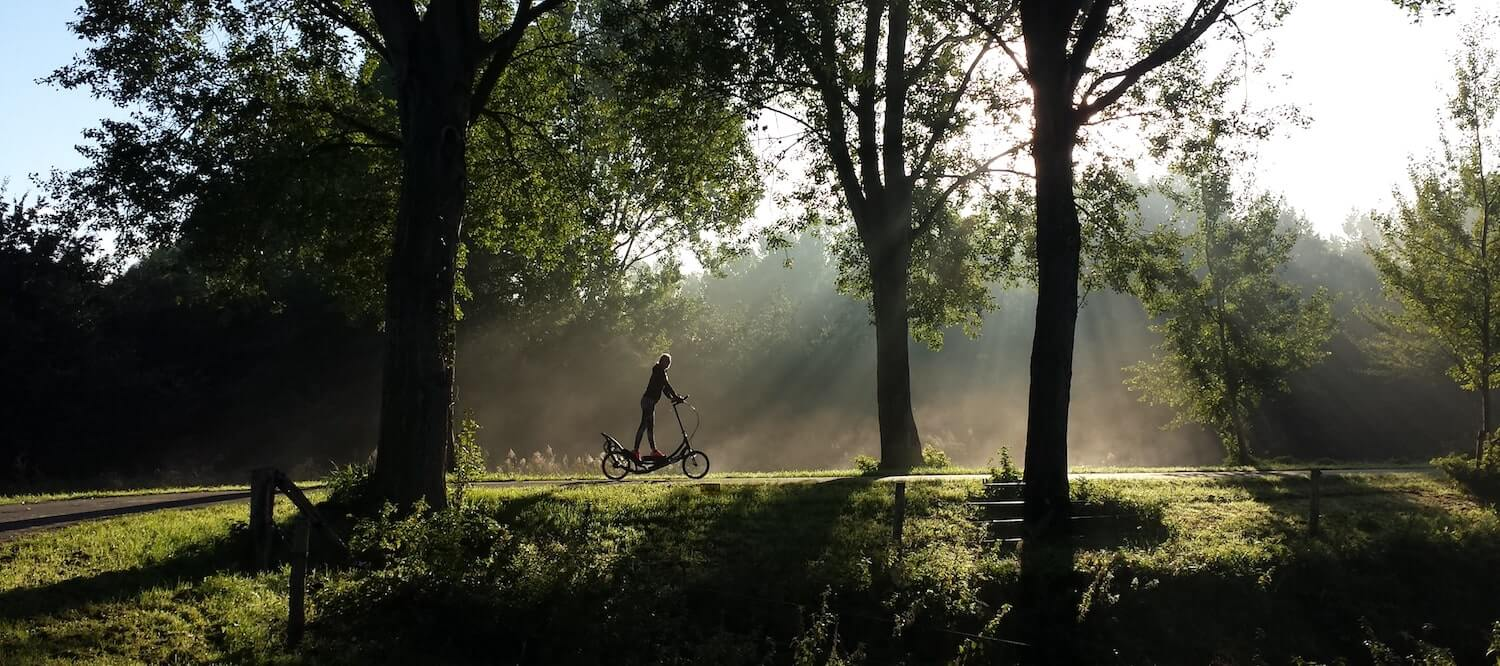 A person riding in nature